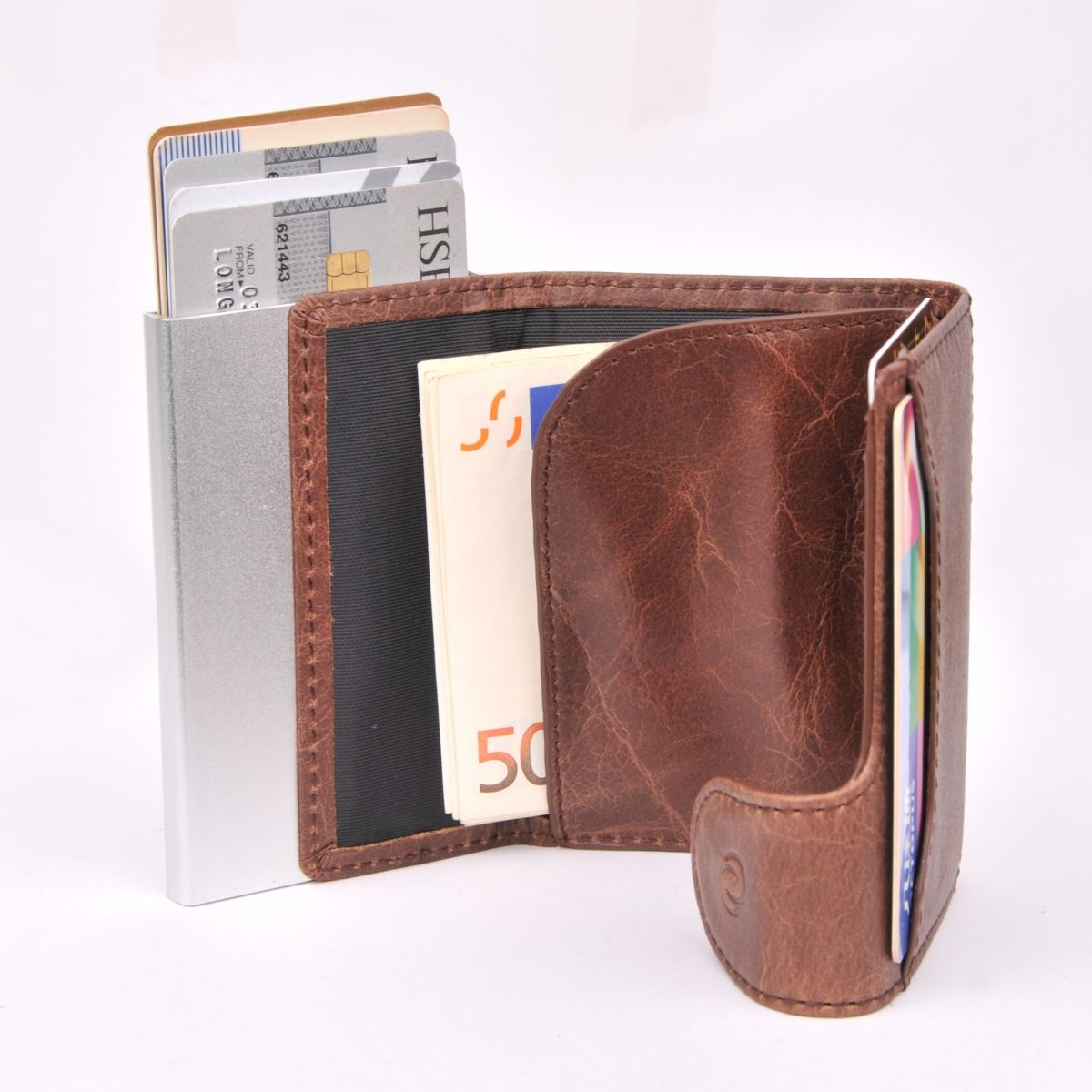 C-Secure Double Aluminum Card Holder with Leather - Brown