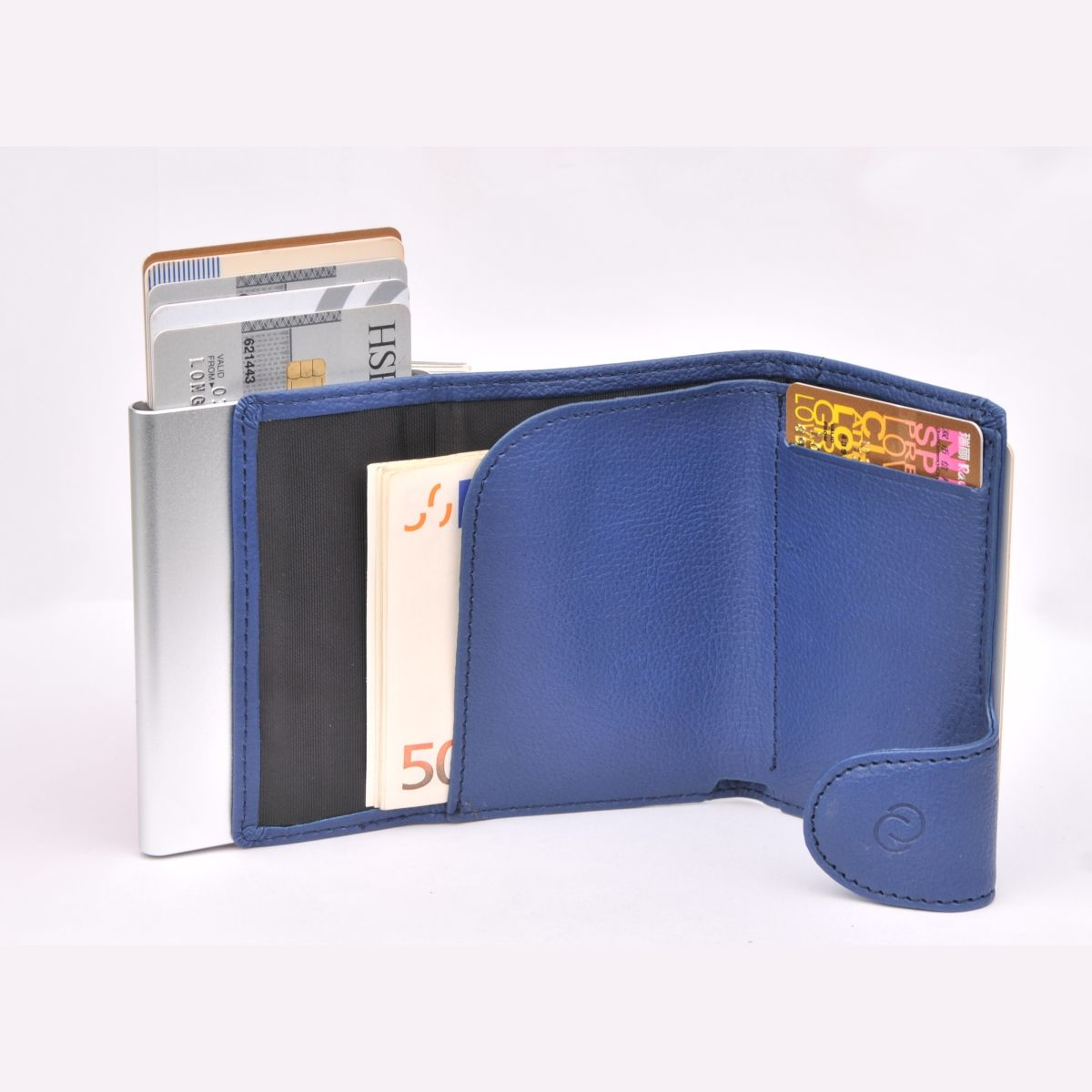 Aluminum Card Holder with PU Leather - Blue