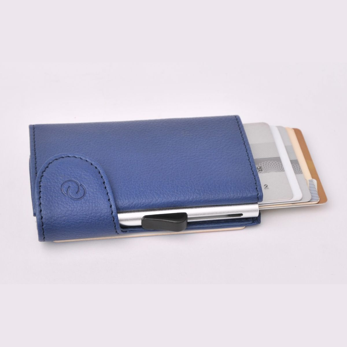 C-Secure Aluminum Card Holder with PU Leather - Blue