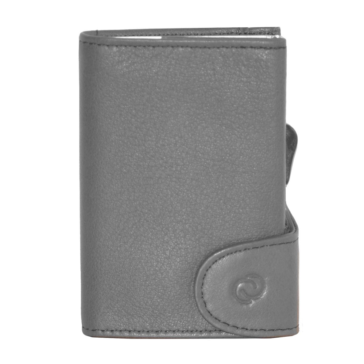 Aluminum Card Holder with Genuine Leather - Grey