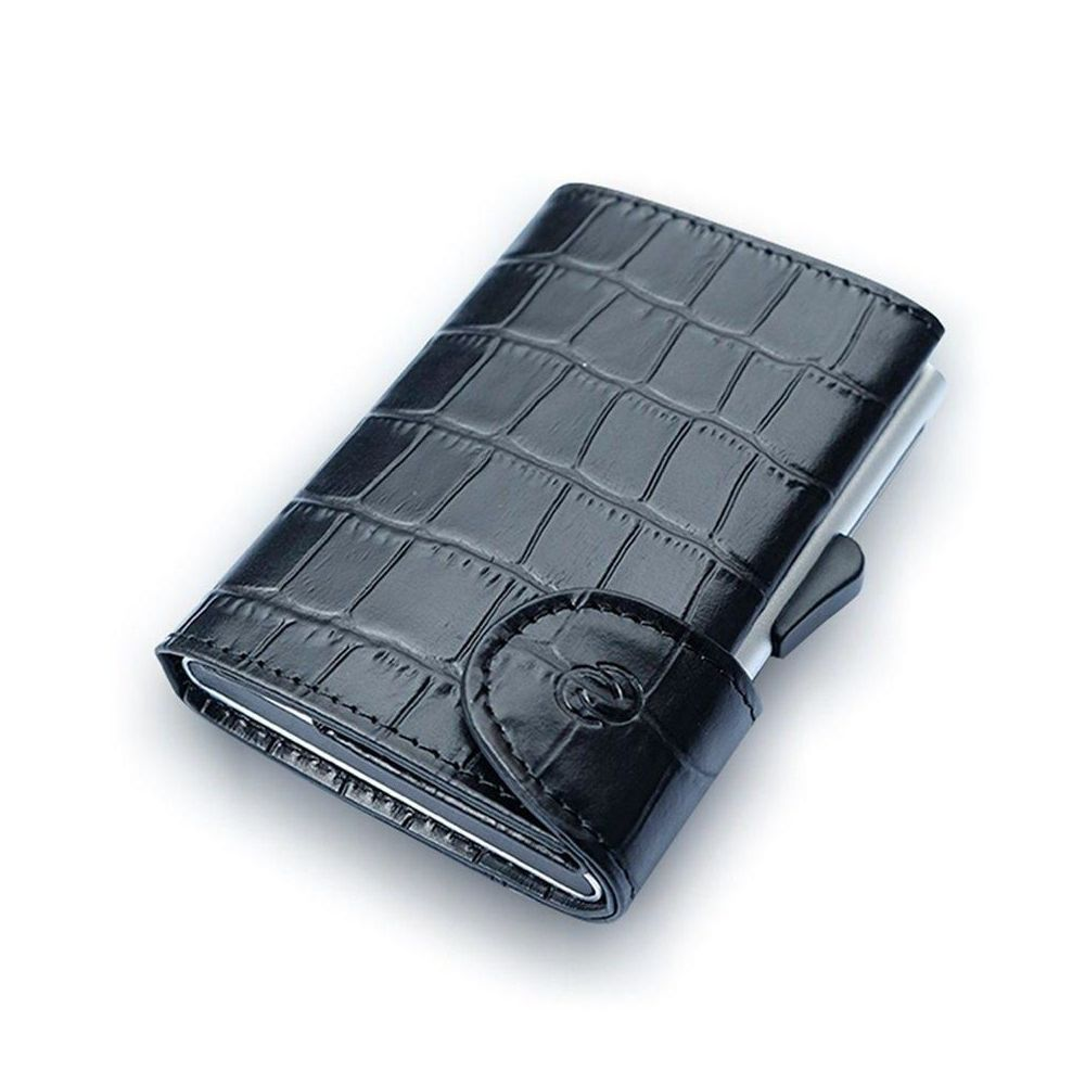 C-Secure Aluminum Card Holder with Genuine Leather - Croco Black
