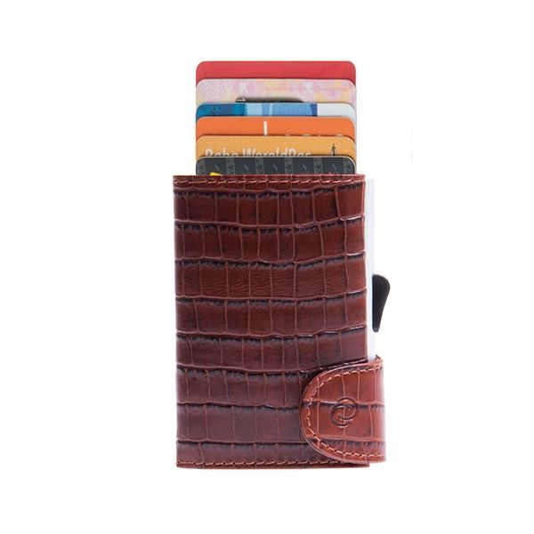 Aluminum Card Holder with Genuine Leather - Croco Brown