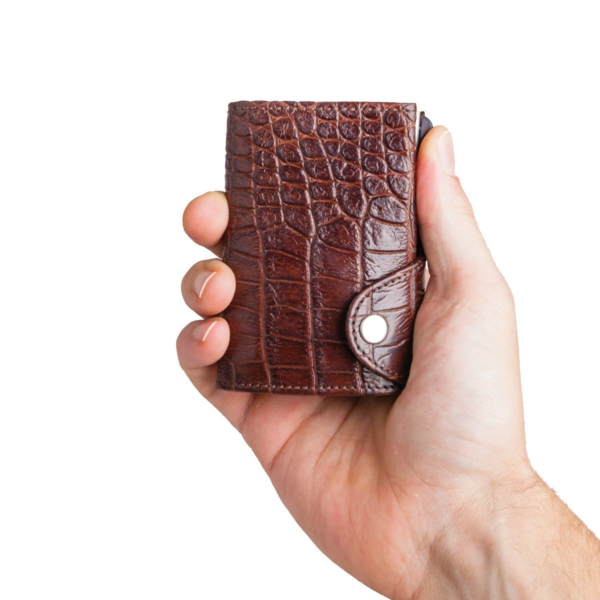 C-Secure Aluminum Card Holder with Genuine Leather - Croco Brown