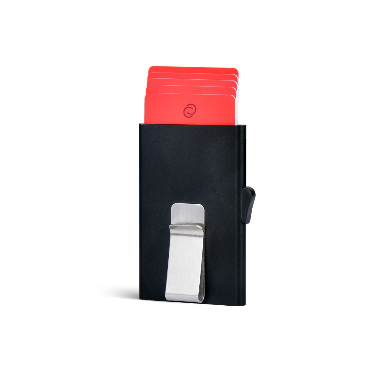 Slim Aluminum Card Holder with Money Clip - Black