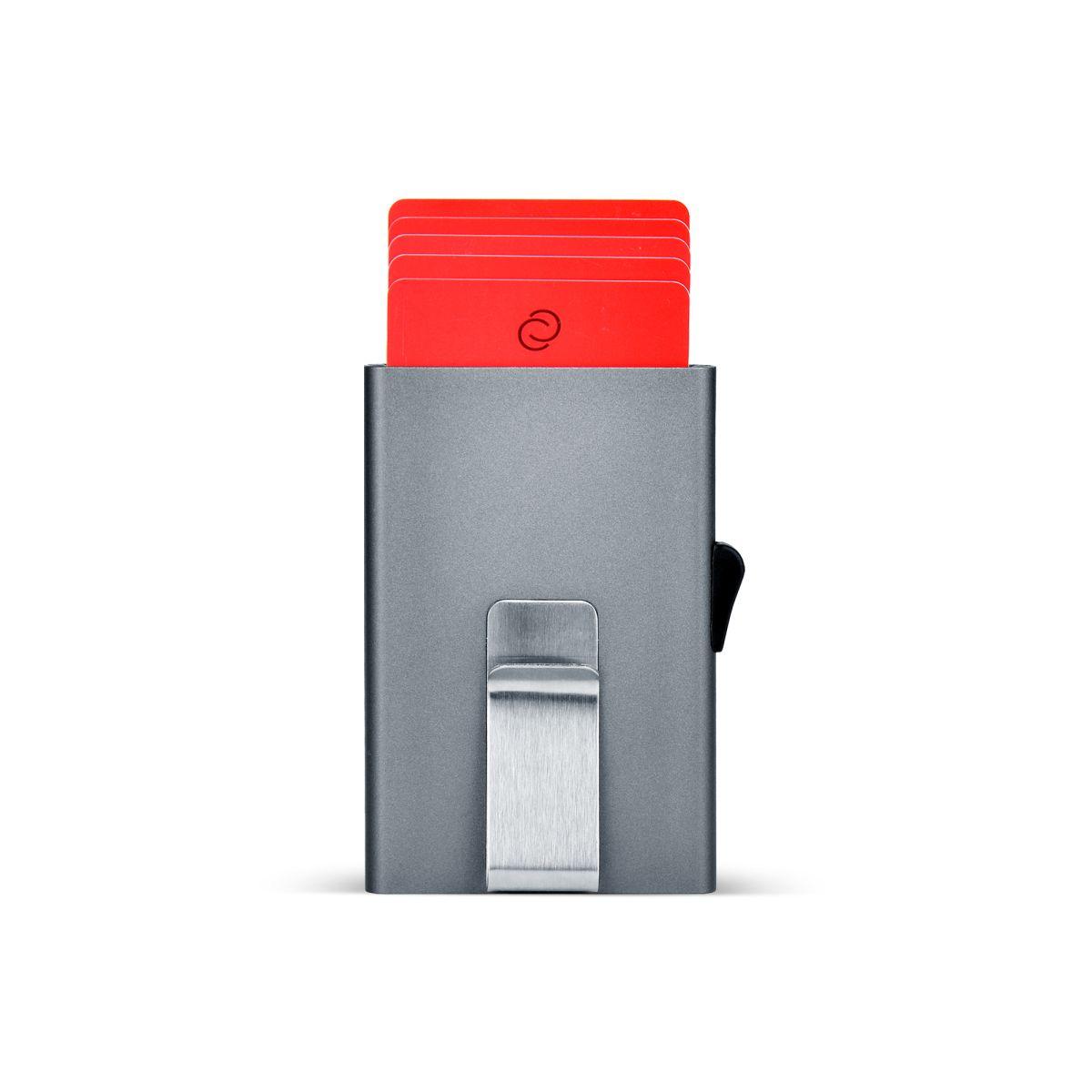 C-Secure ארנק אלומיניום דק בתוספת קליפס - טיטניום