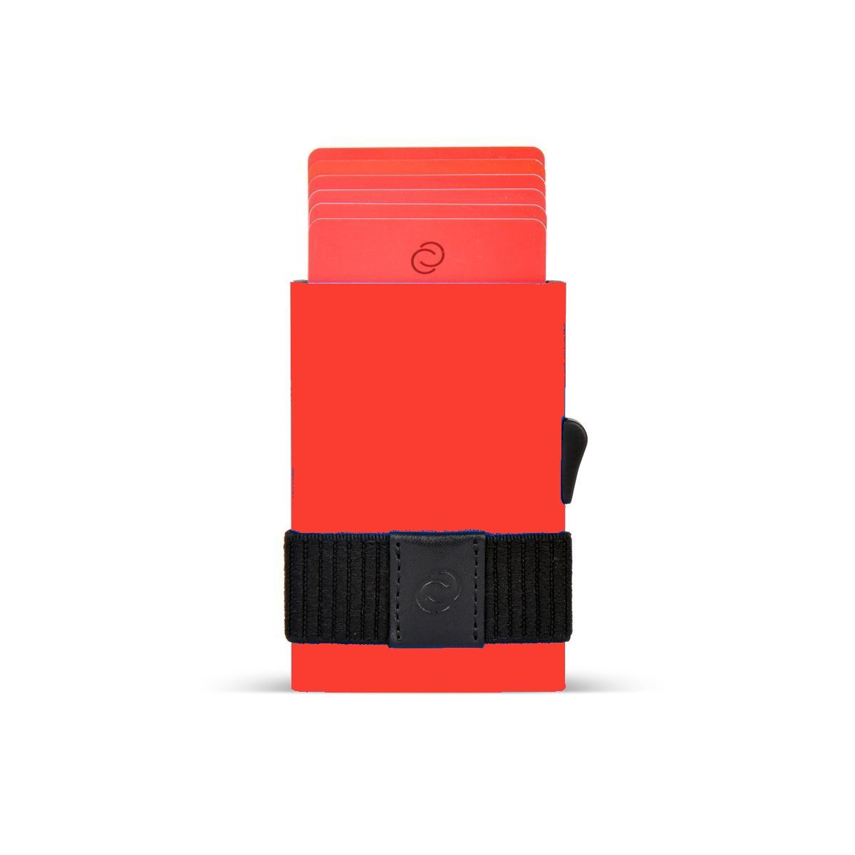 Slim Aluminum Card Holder with Money Band - Red