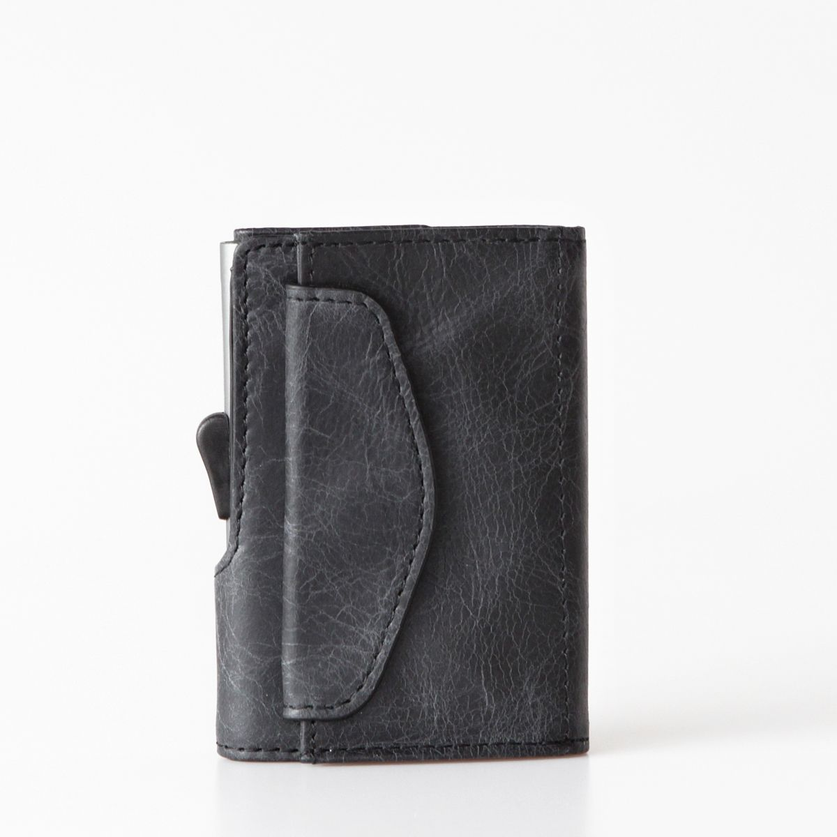 C-Secure Aluminum Card Holder with Genuine Leather and Coin Pouch - Blackwood