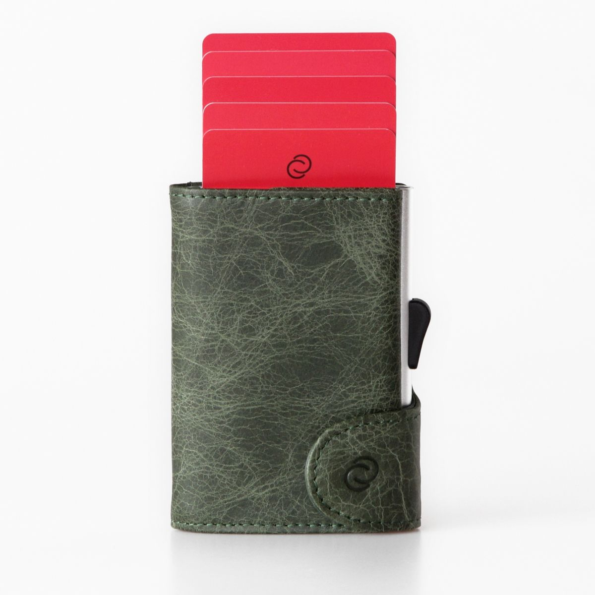 Aluminum Card Holder with Genuine Leather - Green
