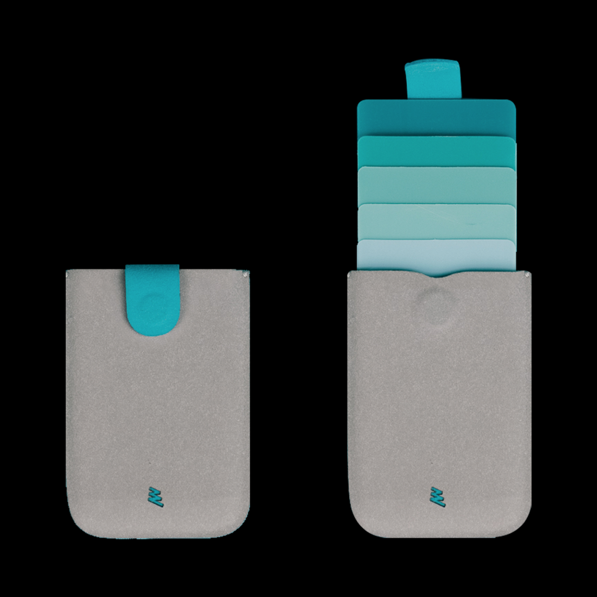 dax Cascading Pull Tab Wallet - Grey / Turquoise