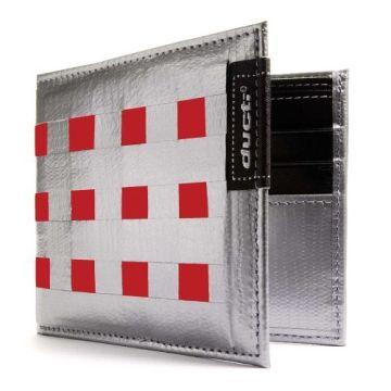 Ducti ארנק Duct Tape דגם Bi-Fold Hybrid - כסוף\אדום
