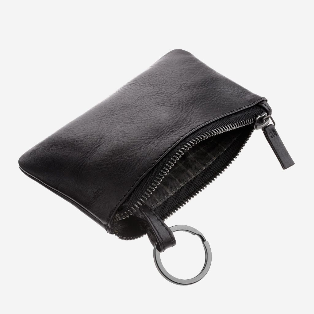 antica toscana Zippered Leather Coin and Key Key Case - Black