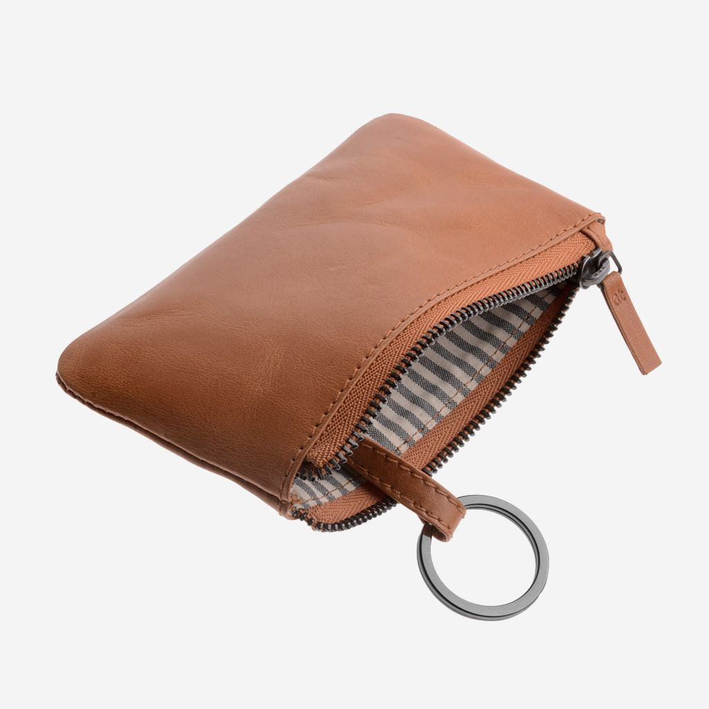 antica toscana Zippered Leather Coin and Key Key Case - Light Brown