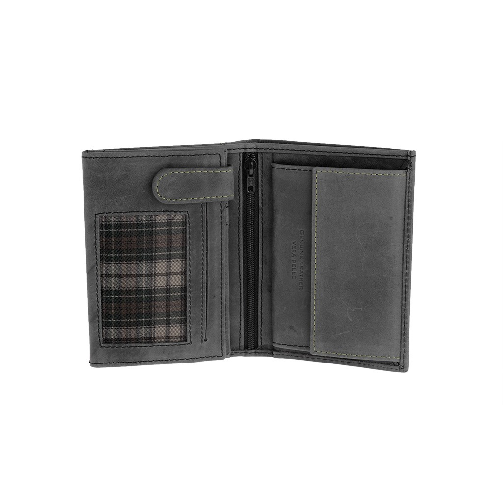 DuDu Vertical vintage leather wallet - Black