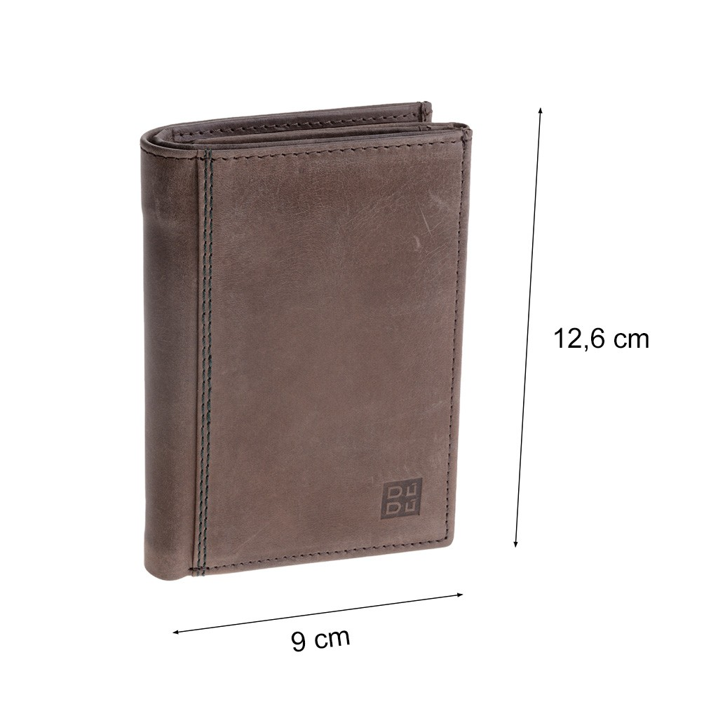 DuDu Vertical vintage leather wallet - Dark Brown