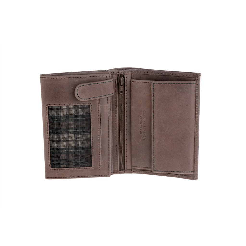 DuDu Vertical vintage leather wallet - Dark Brown