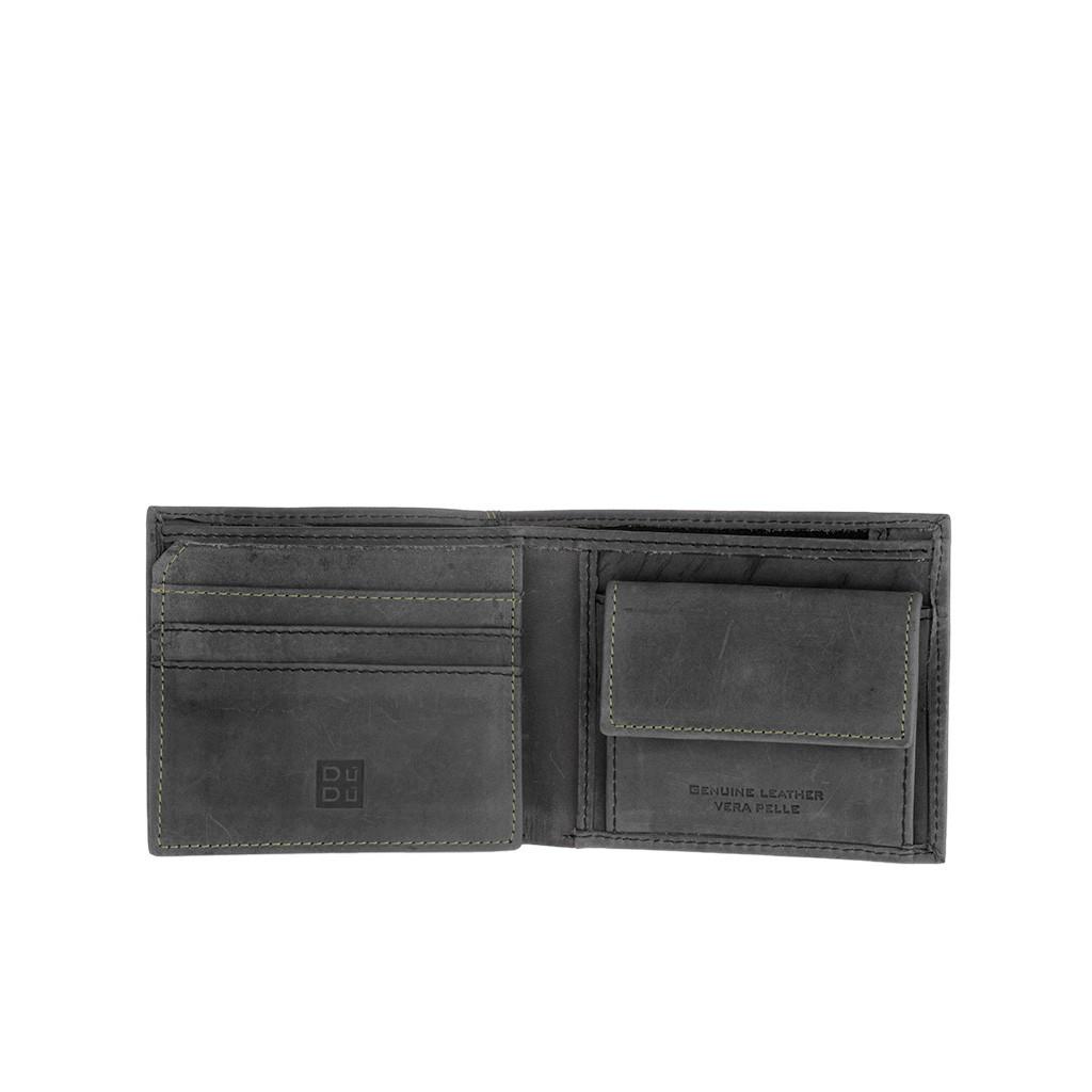 DuDu ארנק עור וינטג' עם תא למטבעות - שחור