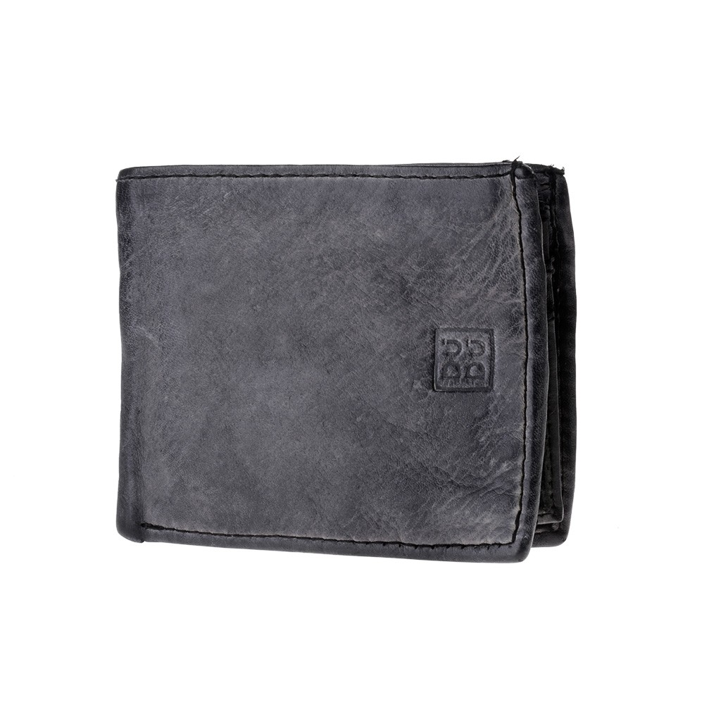 Mans hand-made soft natural high quality leather wallet - Black Slate