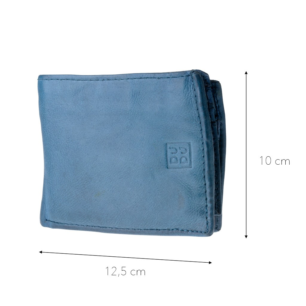 DuDu Mans hand-made soft natural high quality leather wallet - Blue