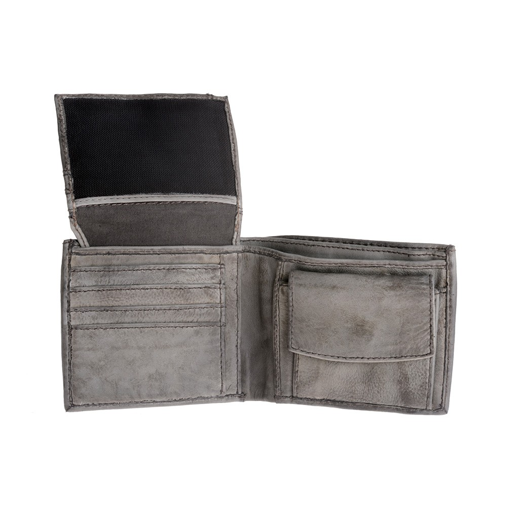 DuDu Mans hand-made soft natural high quality leather wallet - Gray