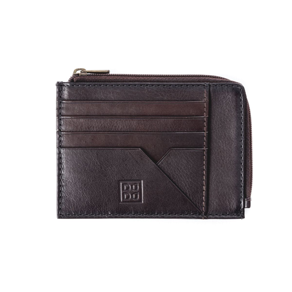 DuDu Flat Leather Wallet - Dark Brown