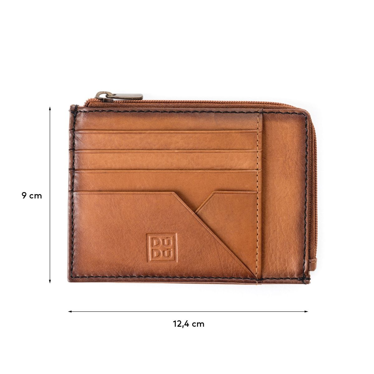 DuDu Flat Leather Wallet - Light Brown