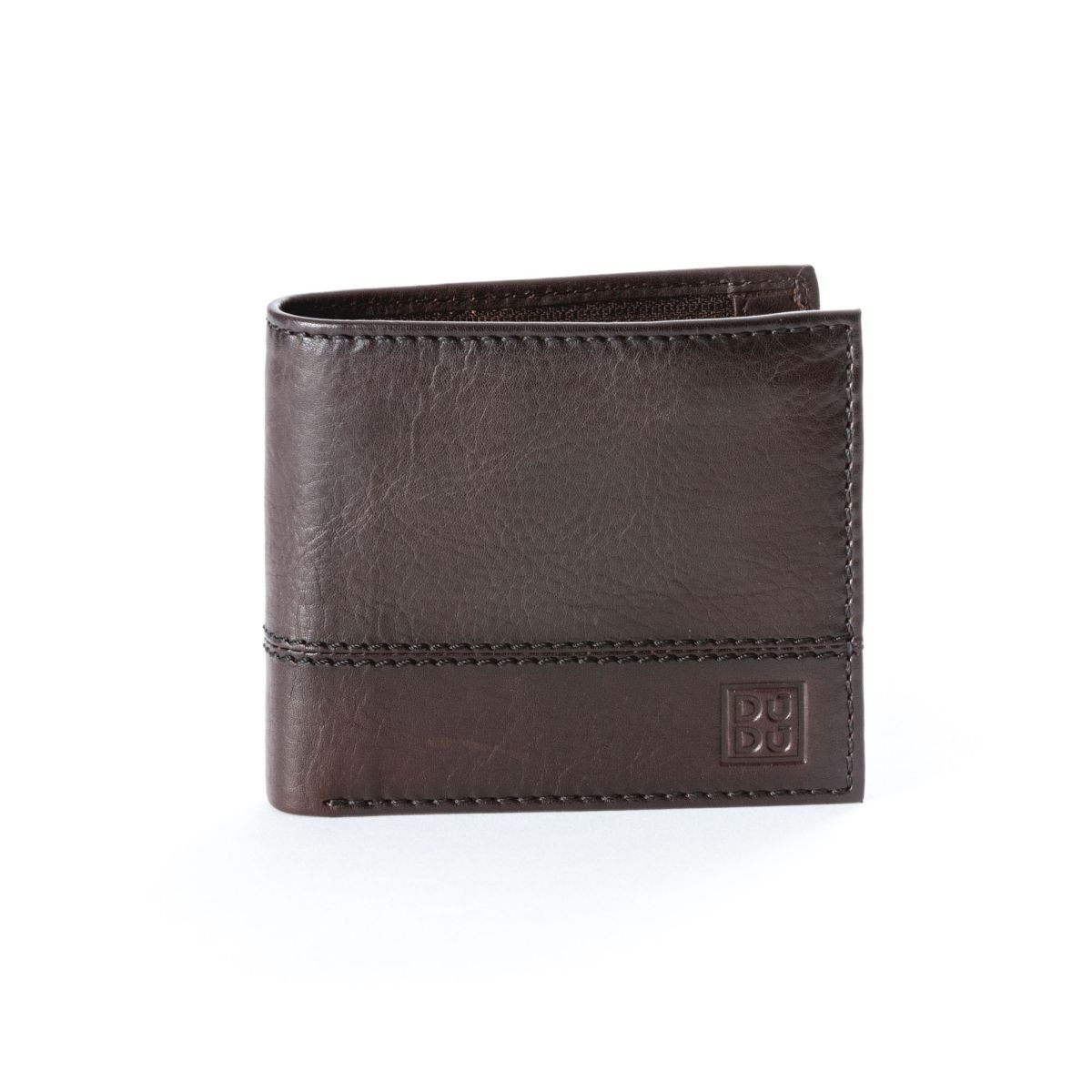 DuDu Unique Leather Wallet With Coin Purse - Dark Brown
