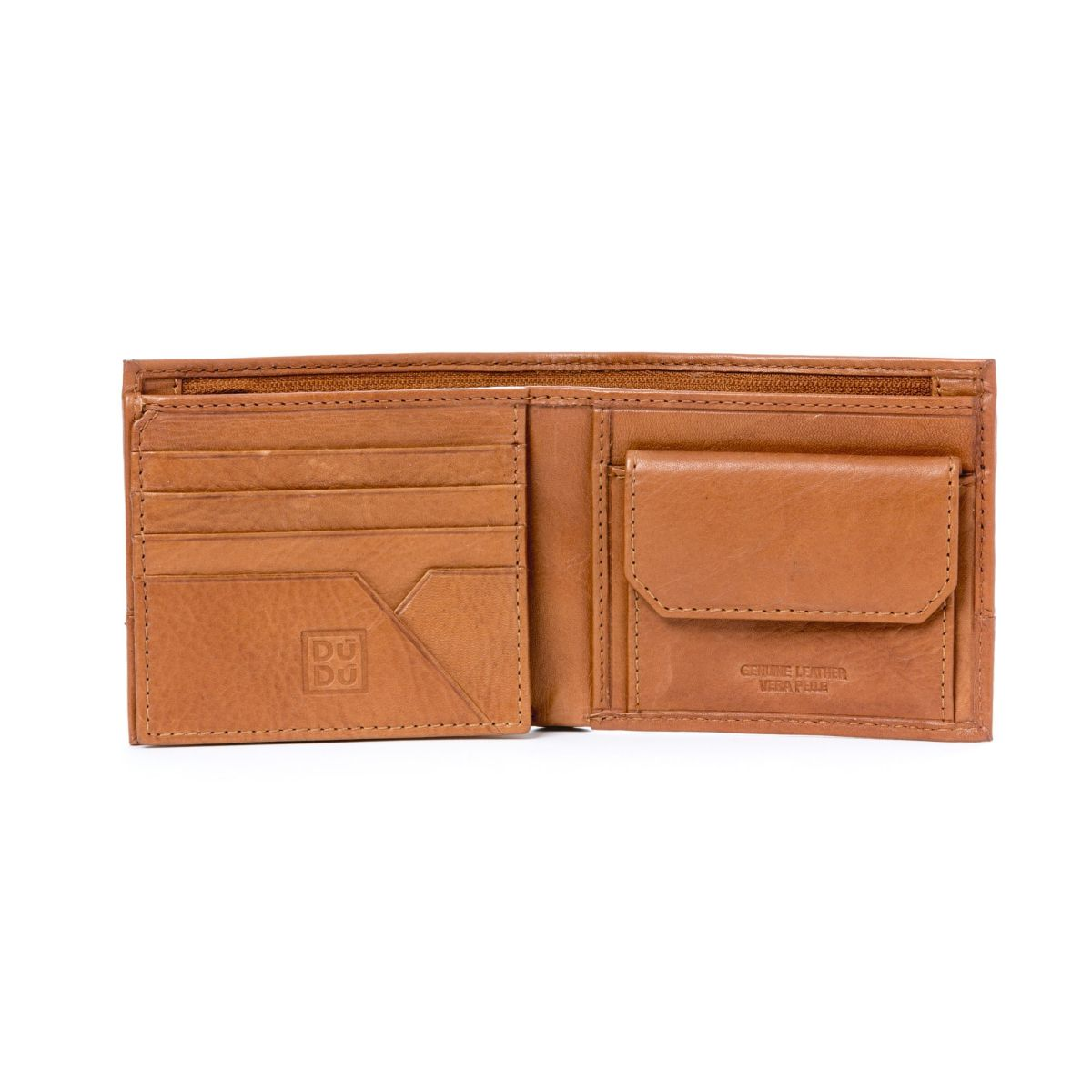 DuDu Unique Leather Wallet With Coin Purse - Light Brown