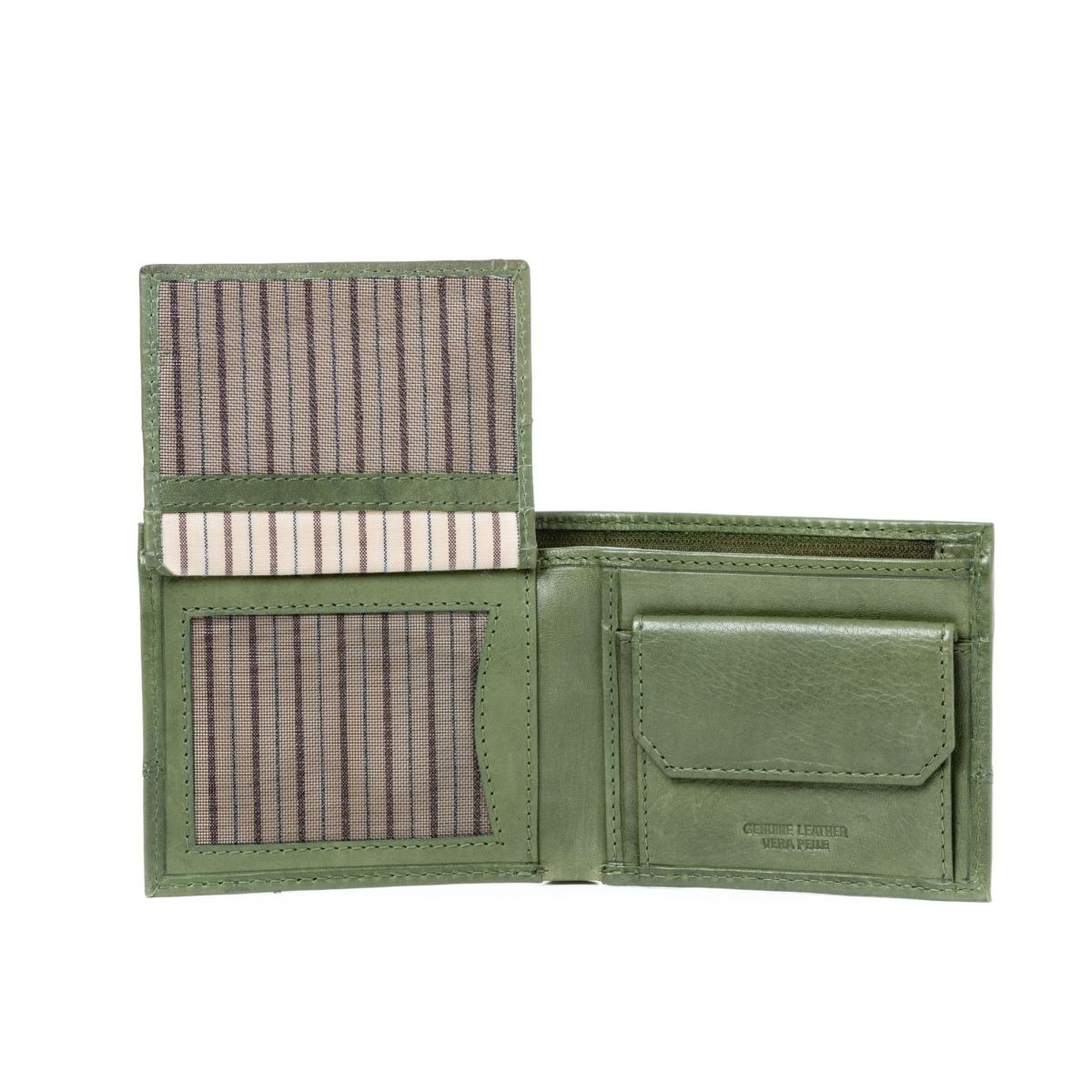 DuDu Unique Leather Wallet With Coin Purse - Green
