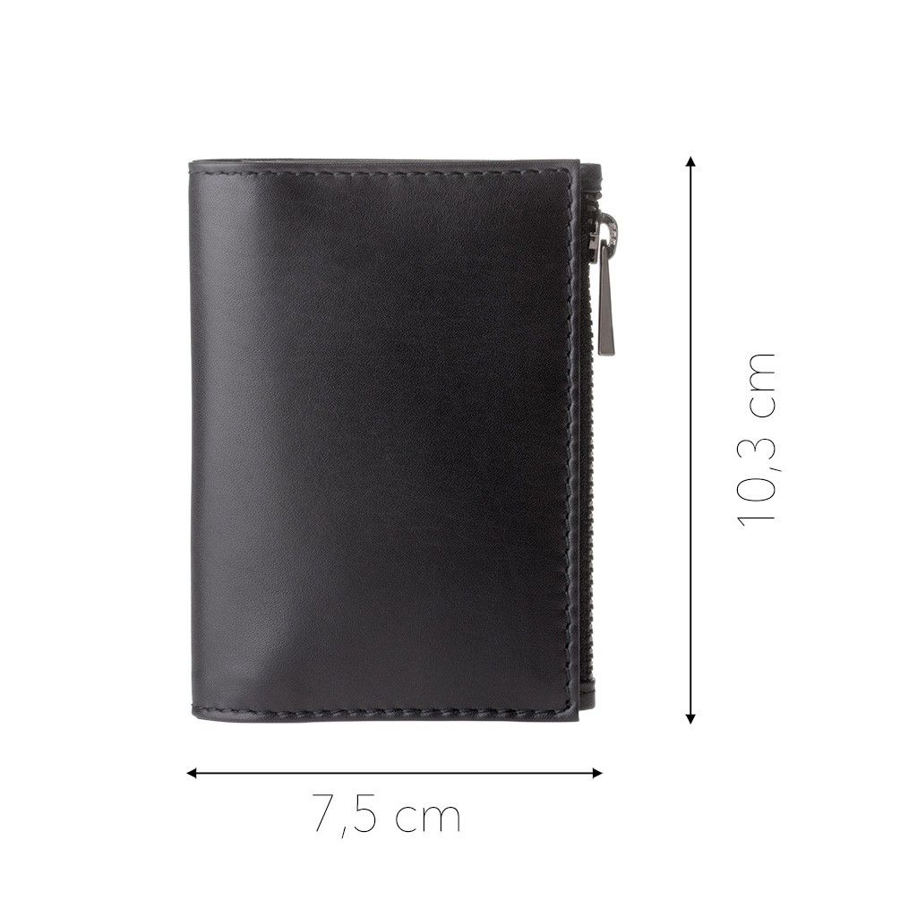 DuDu Zip-It Minimalist Leather Wallet - Black