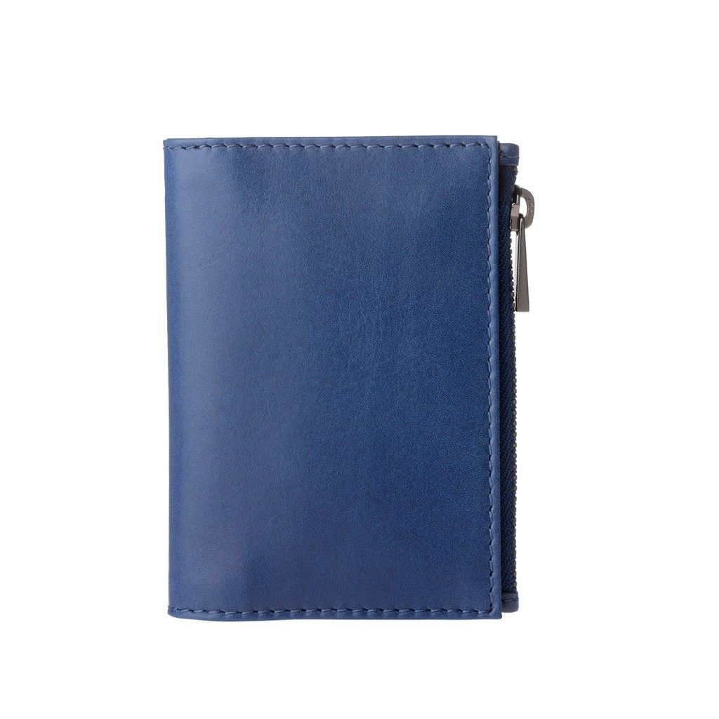 DuDu Zip-It Minimalist Leather Wallet - Blue