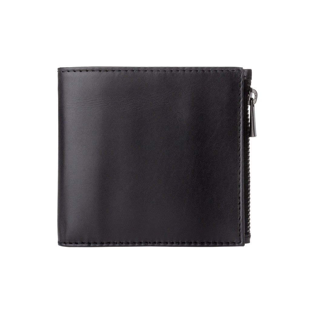 DuDu Zip-It Bi-Fold Leather Wallet - Black