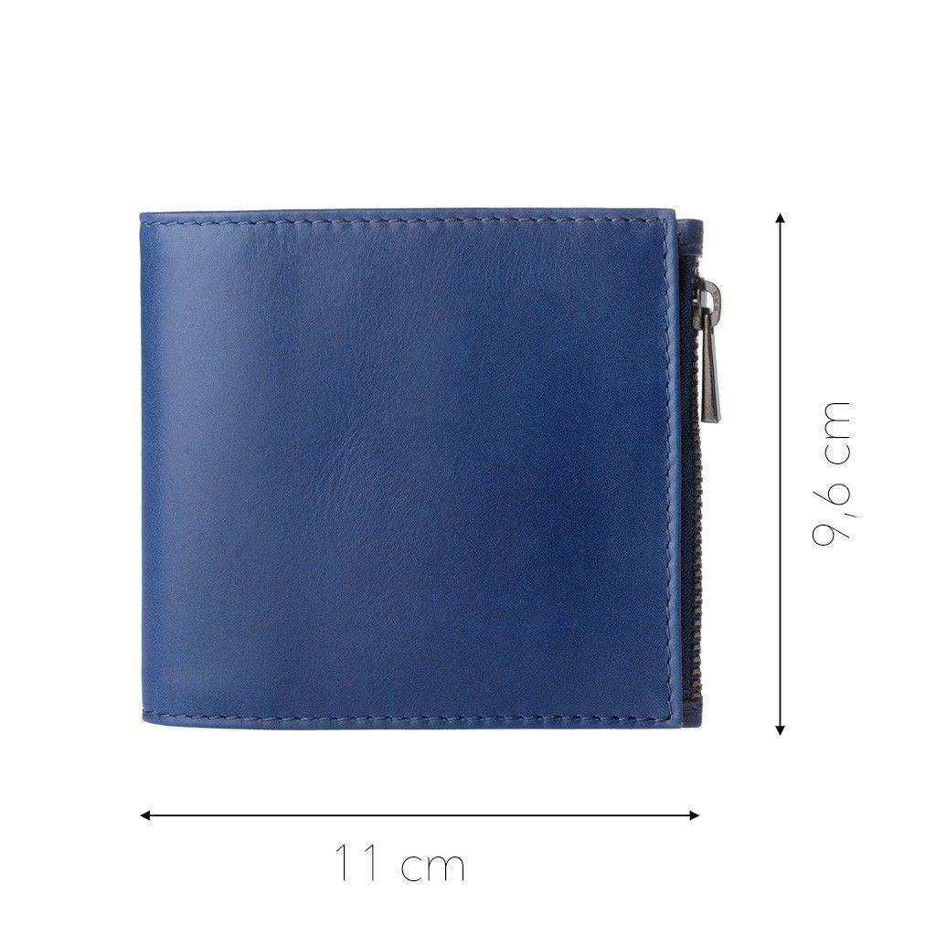 DuDu ארנק עור שטוח עם רוכסן חיצוני - כחול