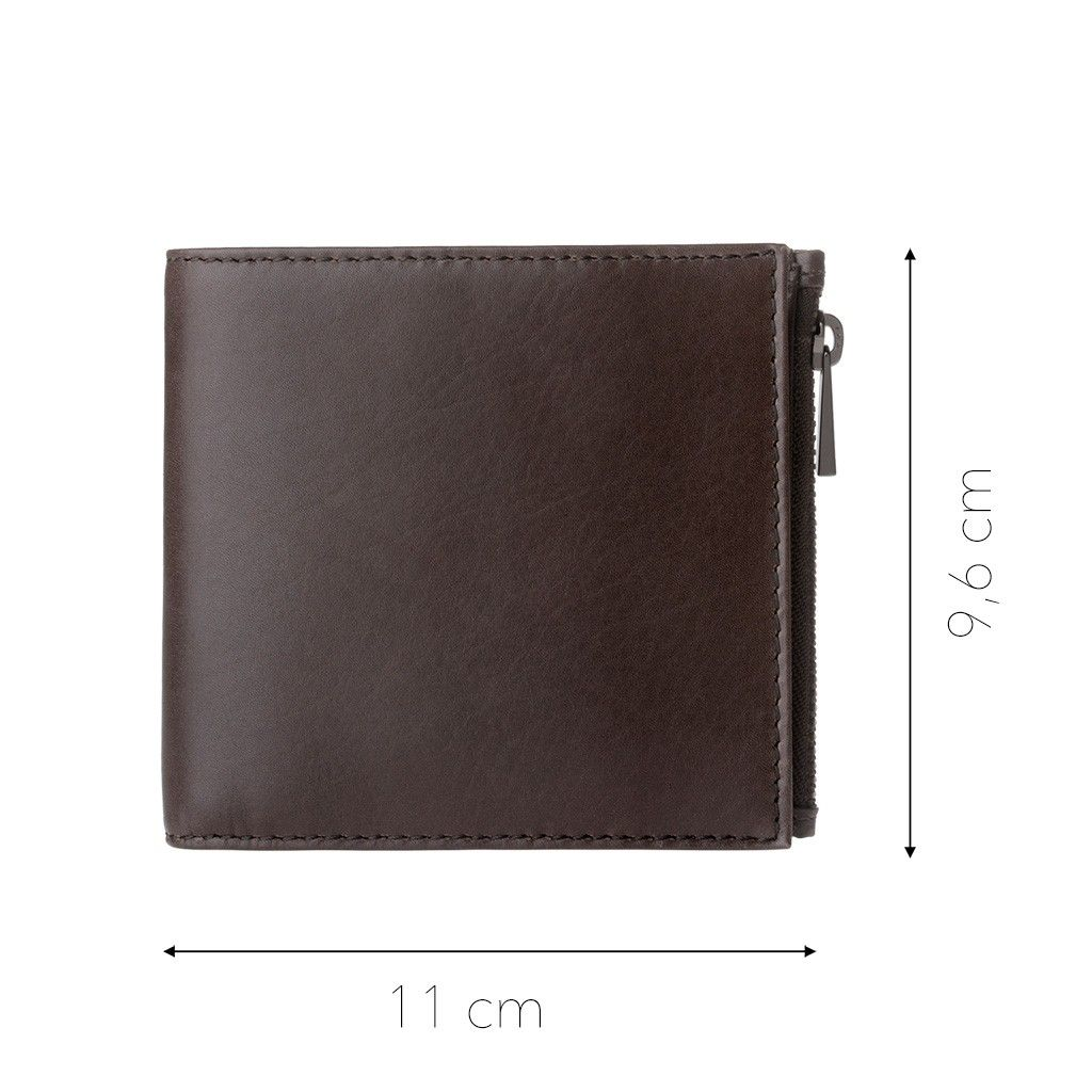 DuDu Zip-It Bi-Fold Leather Wallet - Dark Brown
