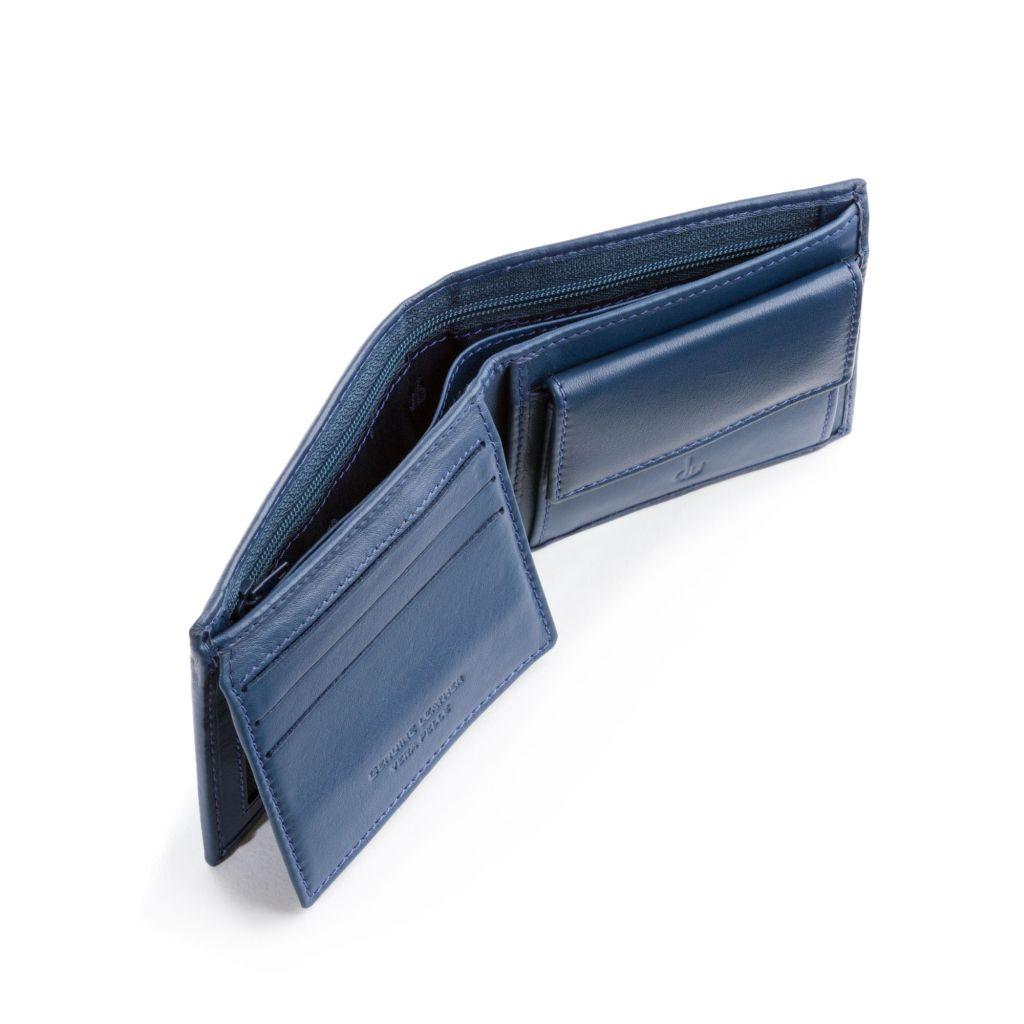 dv ארנק עור איכותי עם תא למטבעות - כחול
