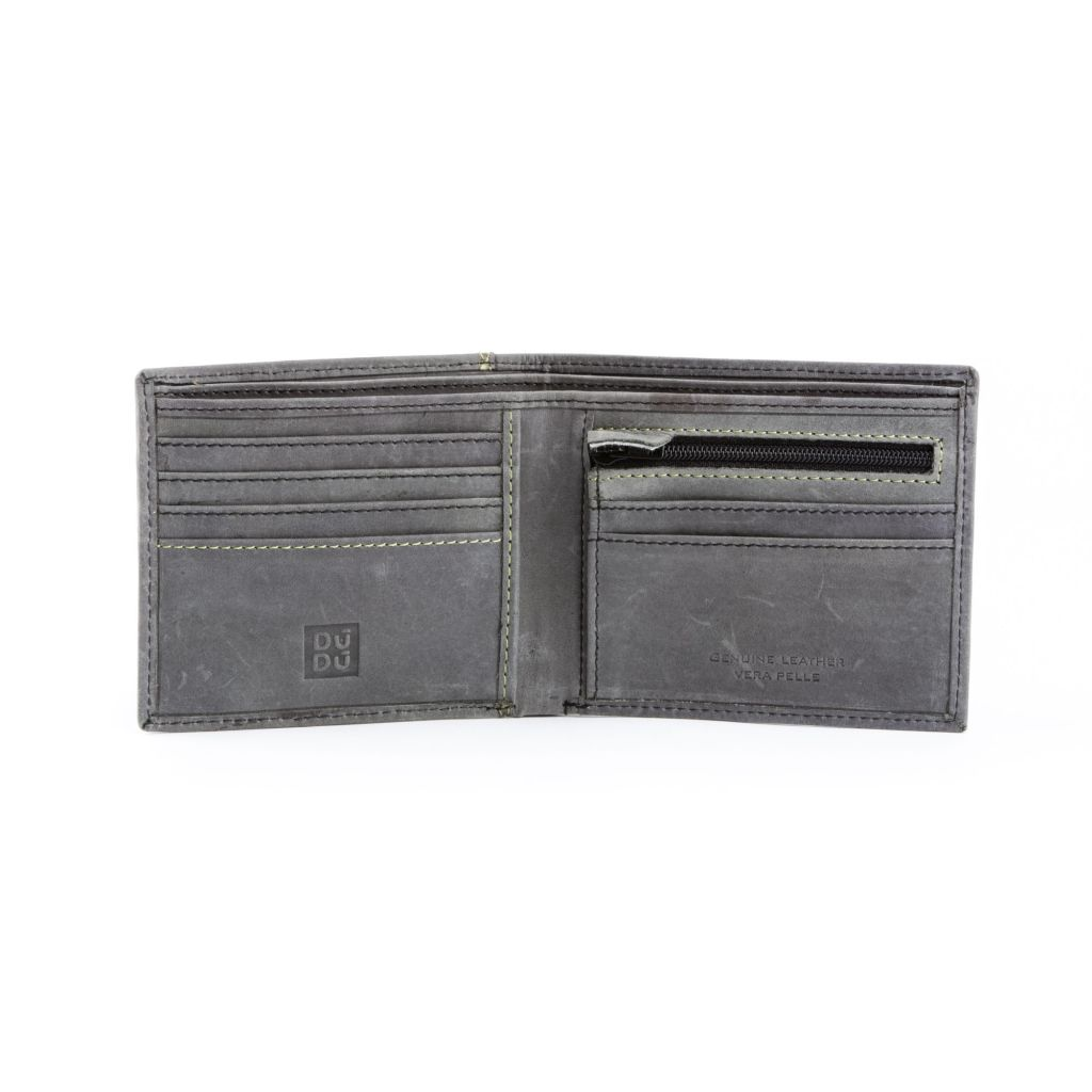 DuDu Mens vintage leather wallet - Black