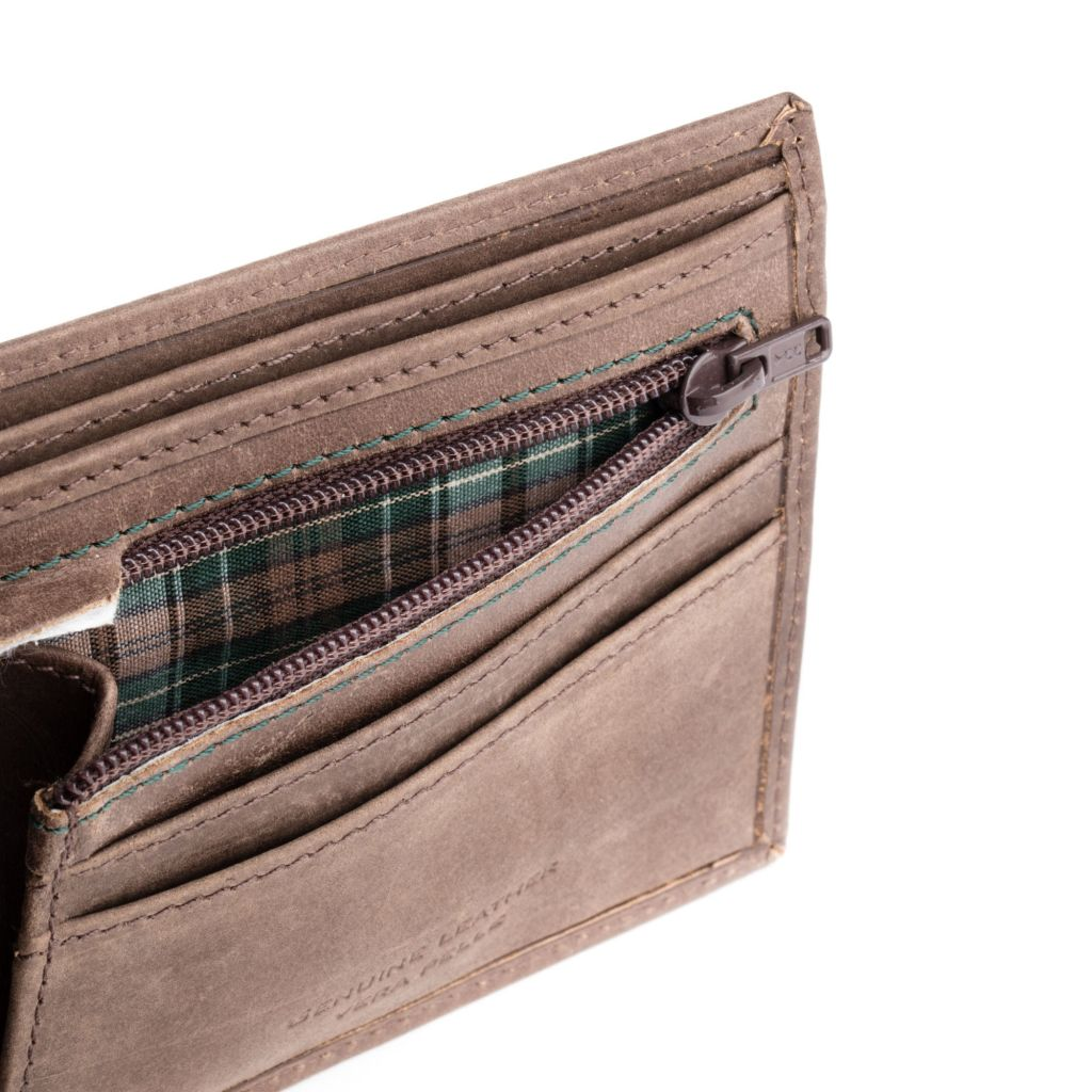 DuDu Mens vintage leather wallet - Dark Brown