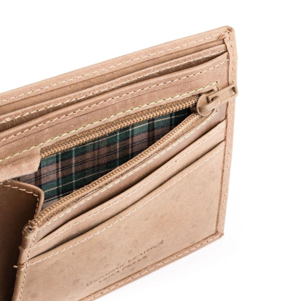 DuDu ארנק עור וינטג' עם רוכסן למטבעות - חום בהיר