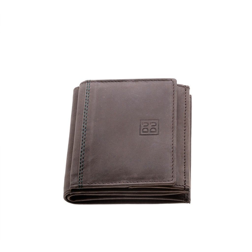 DuDu Small Unique Vintage Leather Wallet  - Dark Brown