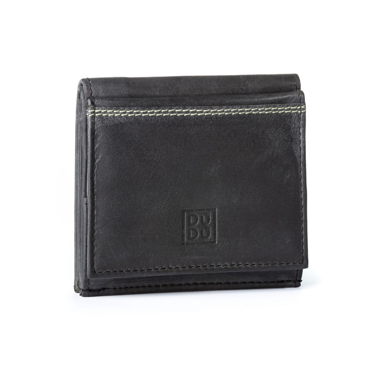 DUDU Credit card Holder Men Wallet Mini Slim in Genuine Leather Vintage Effect w