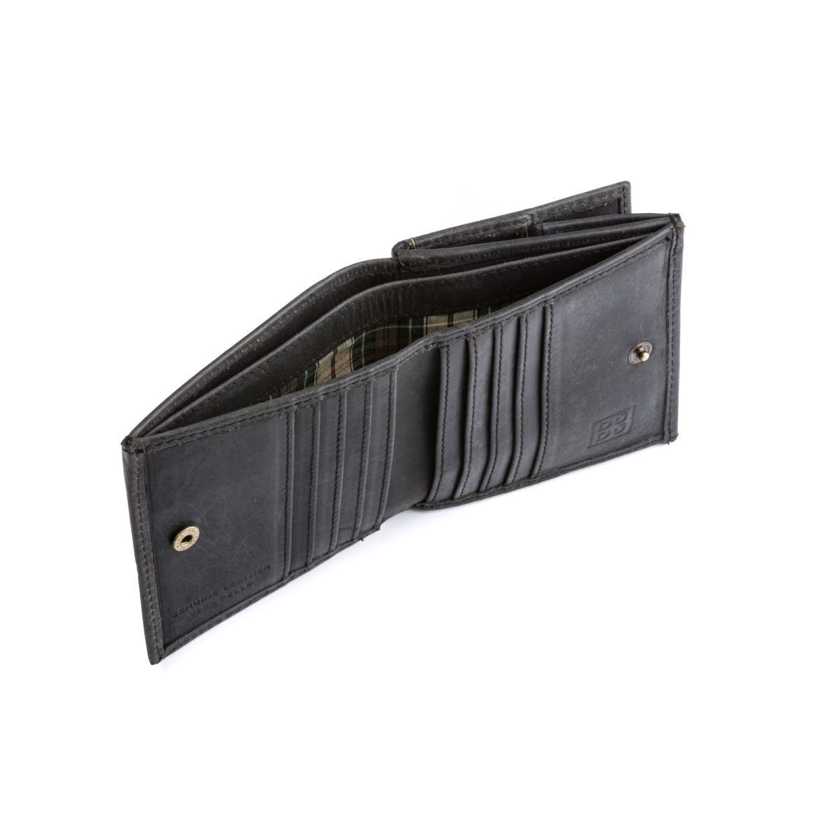 Small Unique Vintage Leather Wallet  - Black