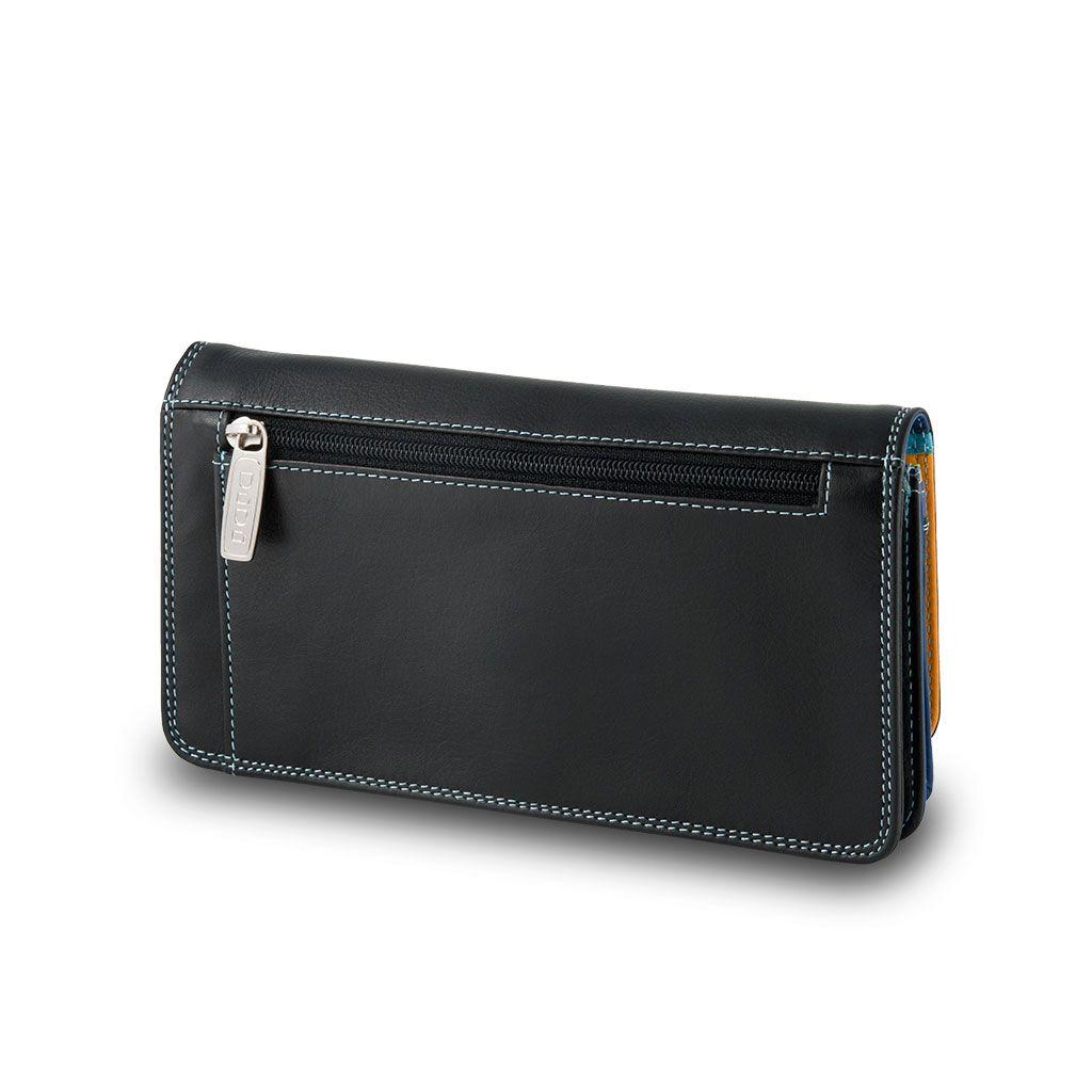 DuDu Ladies leather multi color wallet - Black