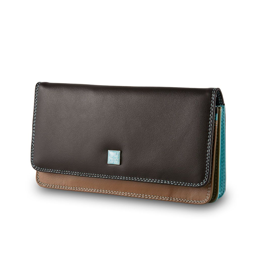 DuDu Ladies leather multi color wallet - Dark Brown