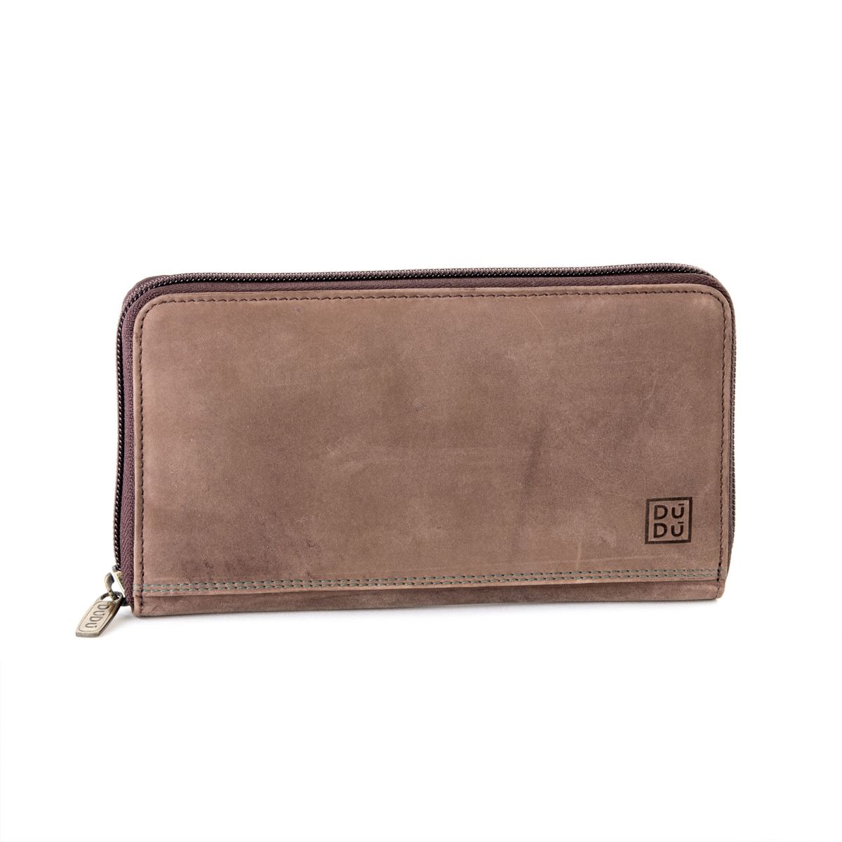 DuDu Ladies Leather Zip Vintage Wallet - Dark Brown