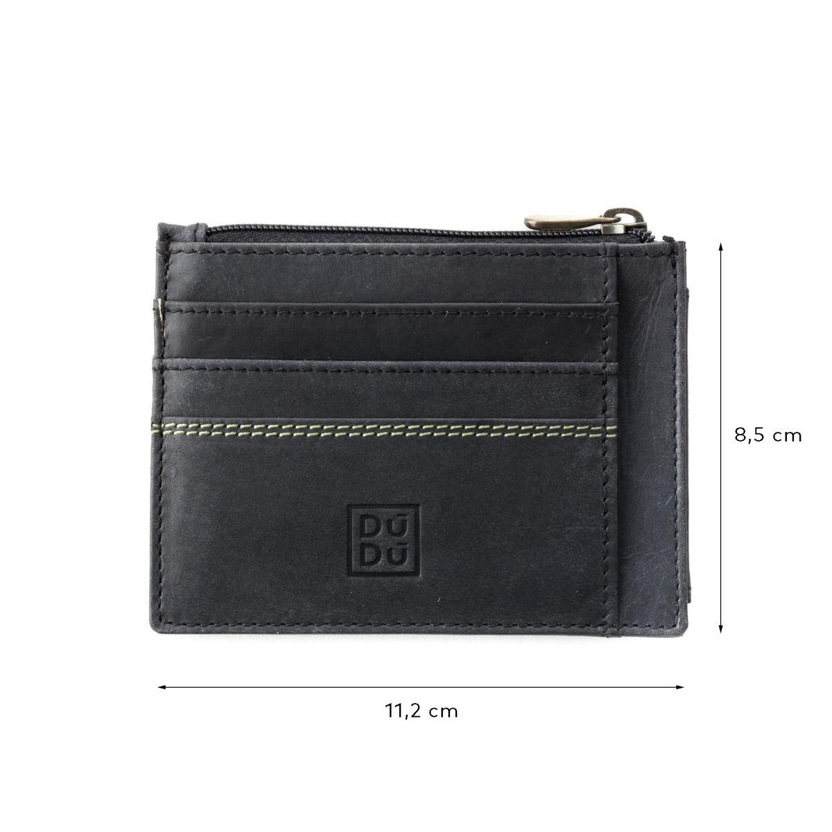 DuDu Slim Leather Credit Card Wallet - Black