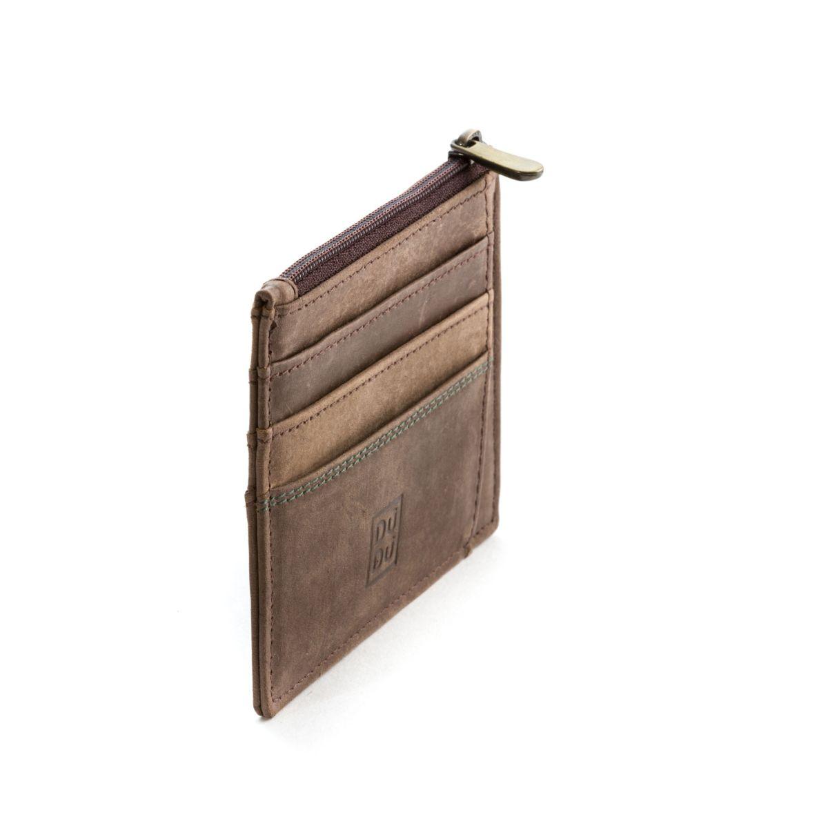 DuDu Slim Leather Credit Card Wallet - Dark Brown