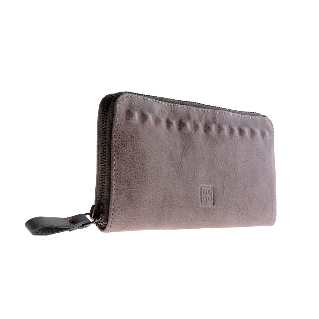 DuDu Ladies handmade premium leather wallet - Gray Stone