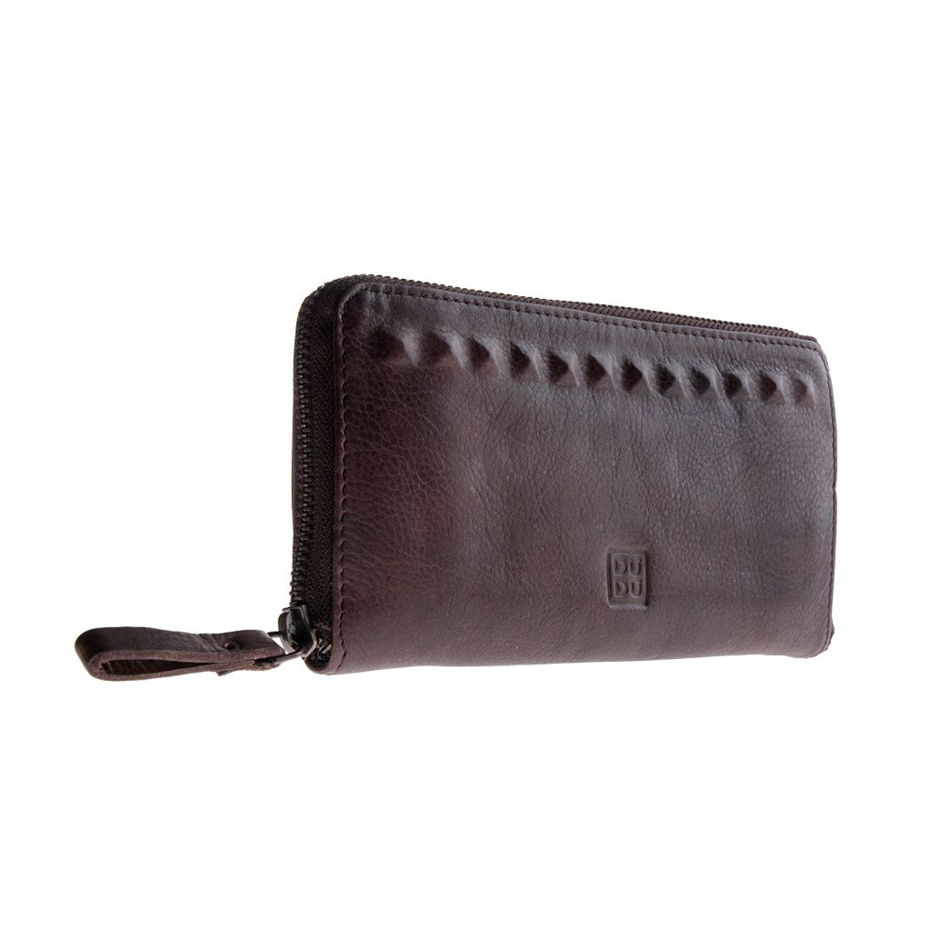 DuDu Ladies handmade premium leather wallet - Dark Brown