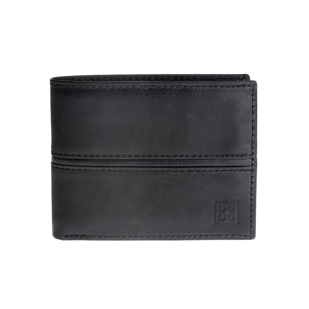 DuDu Mans Leather Wallet With Brushed Effect - Black