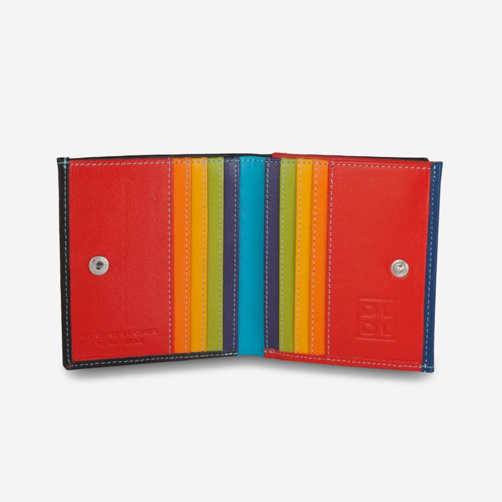 DuDu ארנק עור צבעוני עם תא ייחודי למטבעות - שחור