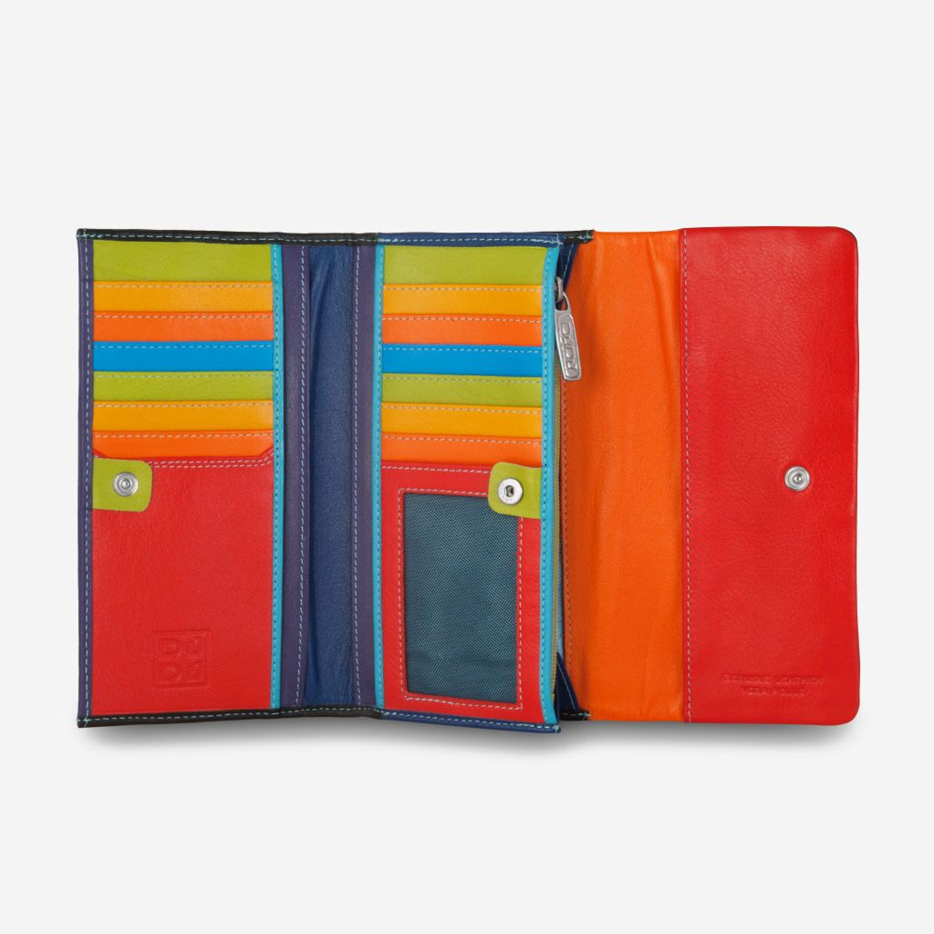 DuDu Colorful Leather Wallet For Women - Black